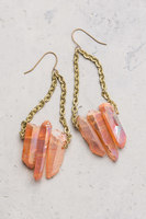 The Starfish Project Kendra Tea Rose (Peach Color) Natural Crystal/Stone Chain Dangle Earrings