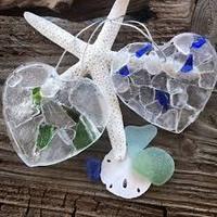 SHORE BEACH COTTAGE SEA GLASS HEART ORNAMENT