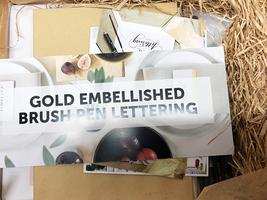 Gold embellished brush pen lettering set