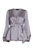 Milk & Honey Satin Wrap Blouse