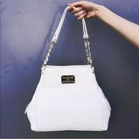 White Quilted Bebe Handbag