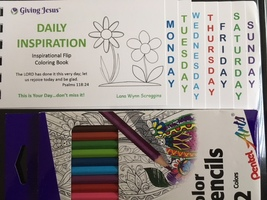 Inspirational Flip Coloring Book and set of color pencils