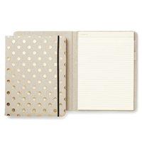 kate spade new york notepad folio - linen & gold dot