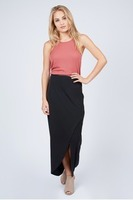 Noir Front Wrap Skirt