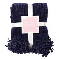 Summer and Rose Charlie Chenille Throw Blanket in Navy