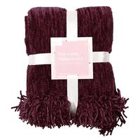 Summer and Rose Charlie Chenille Burgundy Throw