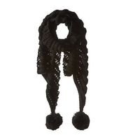 Betsey Johnson Wrap Pom Pom Scarf