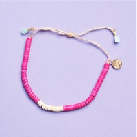 Sizing Details: 1 Pink and Ivory Heishi Beaded Bracelet only