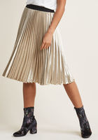 Louche Pleated Satin Skirt in Gold