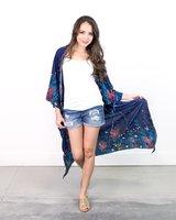 Sariah Long Floral Print Kimono