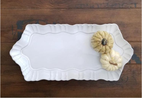 Ceramic Platter with Scalloped Detail 15x7