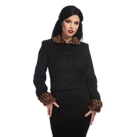 Collectif Marianne Leopard Faux Fur Trim Jacket