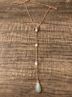 Jeweled Drop Necklace Rose Gold