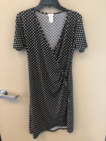 Moci polka dot faux wrap dress
