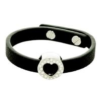 "Alexa ""Bold"" 18K White Gold plated CZ Heart Charm Leather Bracelet"