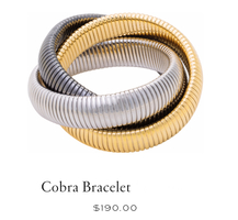 High Polished 18K Yellow Gold, Gunmetal, & Rhodium Triple Cobra Bracelet