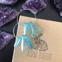 Adam Rabbit Silver and Teal Quartz Hoop Earrings