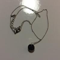 Rhodium Plated Antique Druzy Necklace - Alta Vintage (USA)