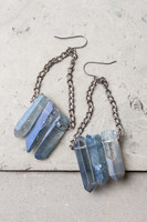 The Starfish Project Kendra Blue (Blue-Gray Color) Natural Crystal/Stone Chain Dangle Earrings