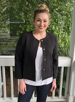 BLVD Solid Hip Length Buttoned Blazer in Black, Size M