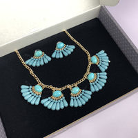 Turquoise Cluster Necklace & Earrings