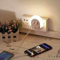 Warm White Auto On-Off Nightlight and Dual USB Charger