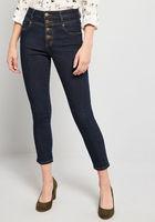 Karaoke Seamstress Buttoned Skinny Jeans in Dark Wash - Inseam 26 in.  Size 12