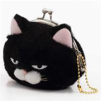 BLACK WHITE PLUSH CAT COIN PURSE