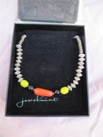 Jewelmint Paradise Cove Necklace Choker Silver Black Coral Yellow Beads