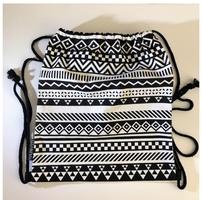 Tribal Striped Black and White Drawstring Backpack