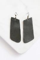 Gray Leather Rectangle Earrings by Carry 117