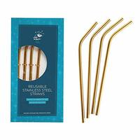 Reusable Stainless Steel Drinking Straws and Brush (Gold)
