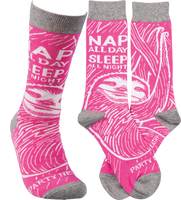 Nap All Day Sleep All Night Party Never Crew Socks