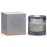 D.L. & Co. Studded Crystal Glass Candle - Grey | Sea Salt and Ginger