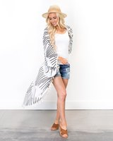 Cents of style geometric sticks long cocoon kimono