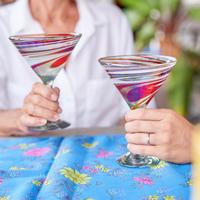 Martini Glasses Tropical Swirl
