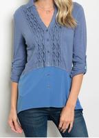 Esley Slate Blue Button-Down Blouse - shoptiques card