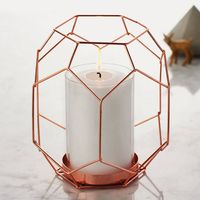 Rose Gold Copper Metal Geometric Candle Holder with Glass Hurricane