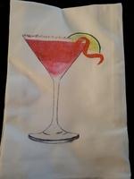 Flour Sack Kitchen Towel with Martini