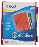 Mead Tab Pocket Dividers (5) Assorted Colors