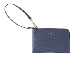 Kiko Small Leather Wristlet in Blue