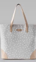 October Jaipur Gray polka dot tote
