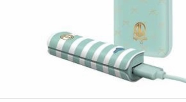 Mint green striped portable charger