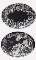 Creative Co-Op Vintage Hand Painted Oval Ceramic Trinket Plates, Black & White, Set of 2