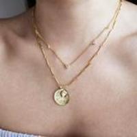 Wanderlust + Co September Birthstone Gold Necklace