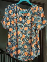 Collective Concepts Orange and Black Floral top