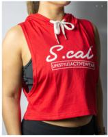 SCal Crop Hoodie In Red