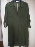 Ellison olive green shirt dress w/ detachable slip