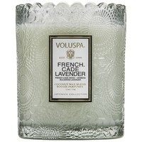 Voluspa French Cade Lavender Scalloped Edge Embossed candle