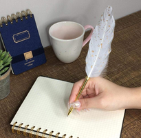Time Concept Feather Quill Ballpoint Pen & Stand